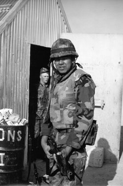 Taiaiake in the early 1980s as a young US Marine infantryman.